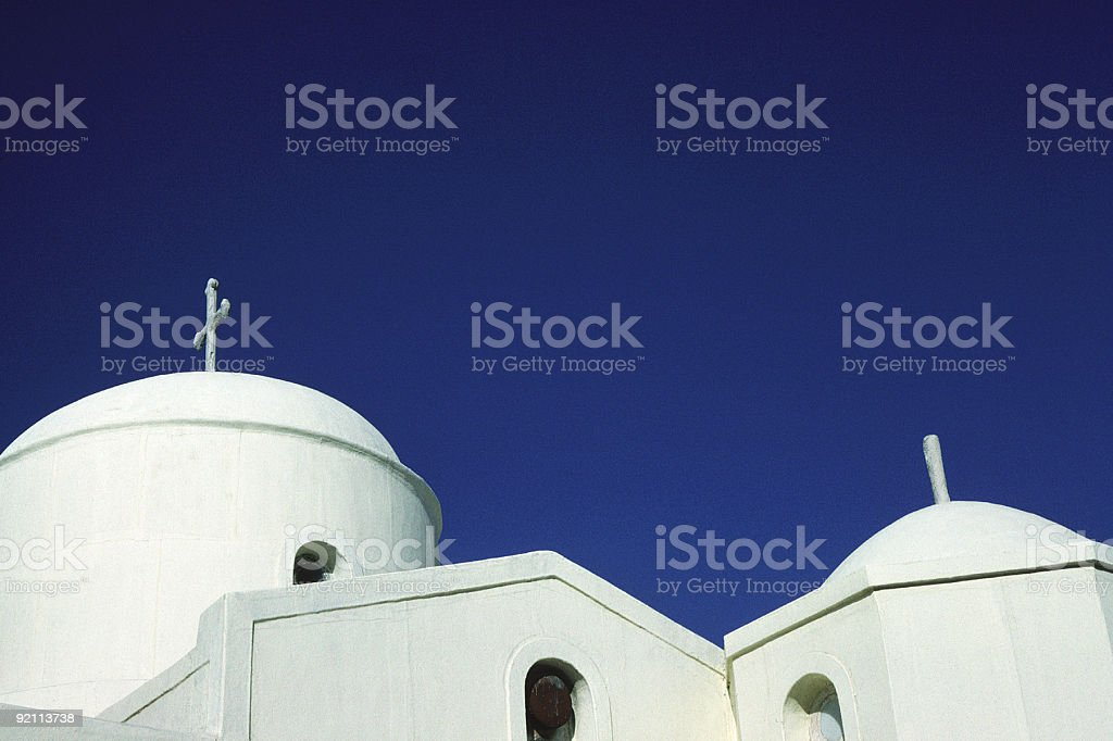 Church Rooftop, Naxos, Greece stock photo