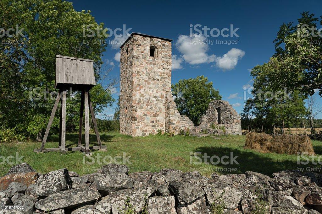 Church ruin stock photo