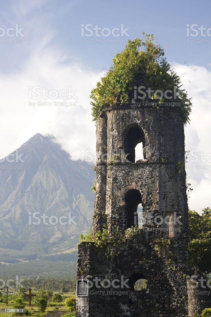 Church ruins and volcano royalty-free stock photo