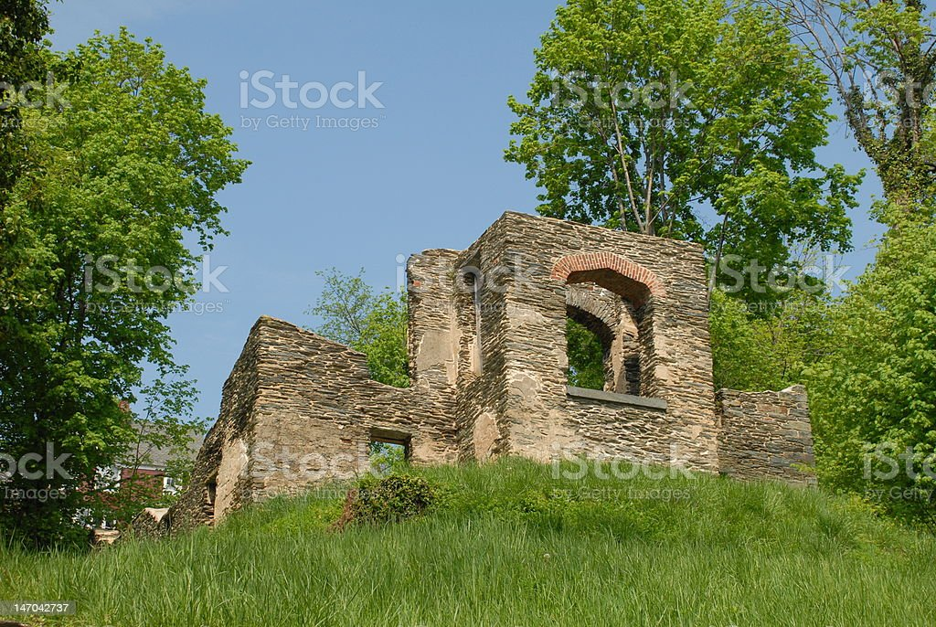 Church ruins at Harpers Ferry stock photo