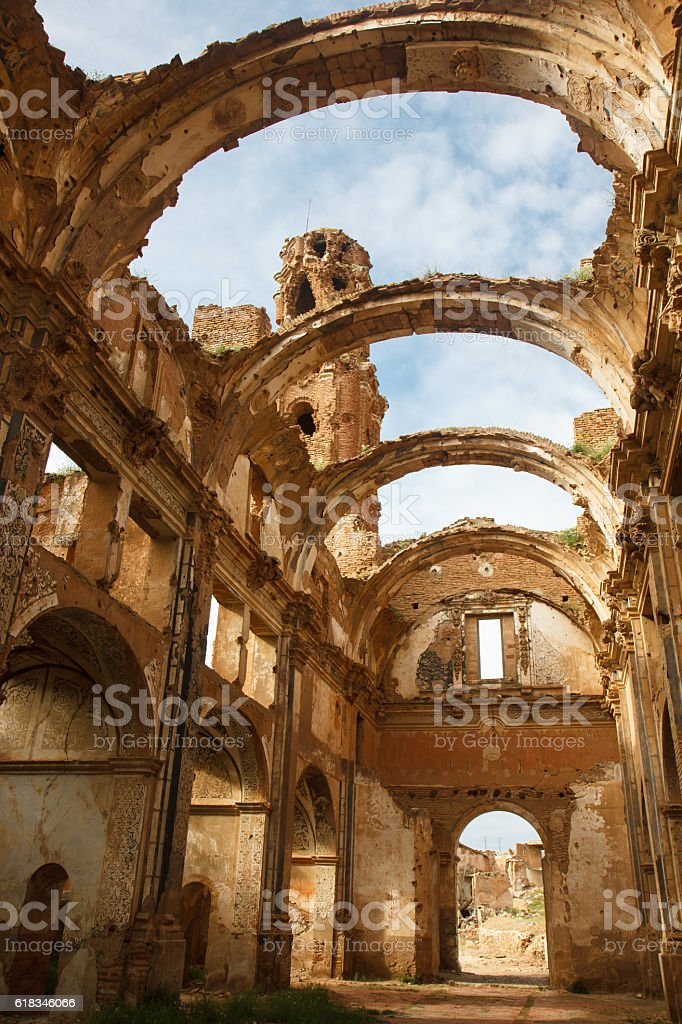 Church ruins of Belchite town, Spain stock photo