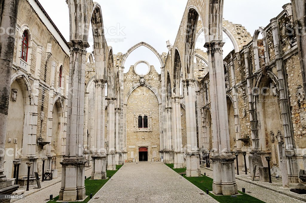 Church ruins of the Carmo Convent in Lisbon, Portugal royalty-free stock photo
