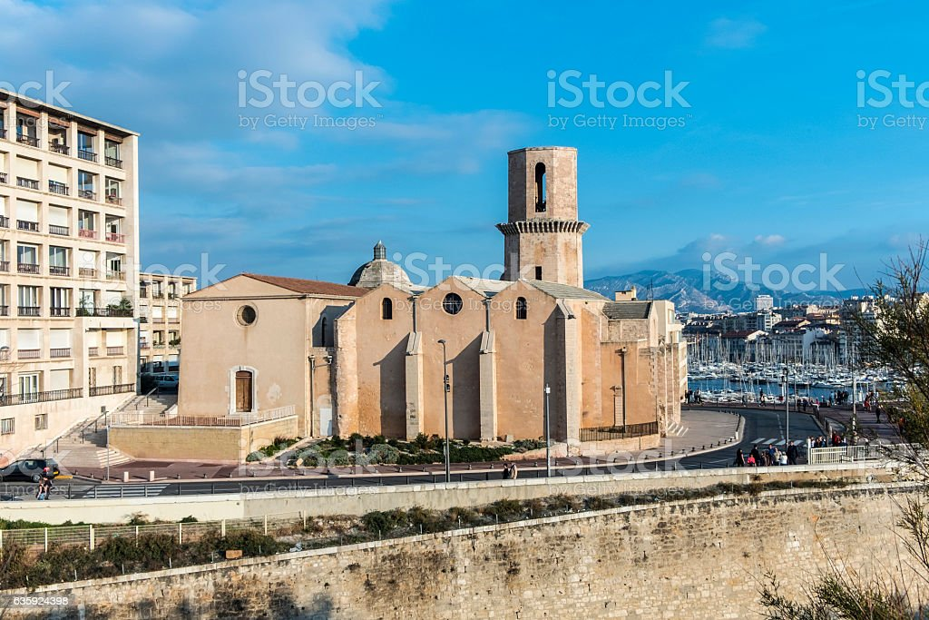 Church Saint Laurent from 12th century in Marseille, France stock photo