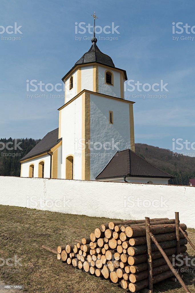 Church Saint Martin of the little Upper Bavarian village Schafhausen stock photo
