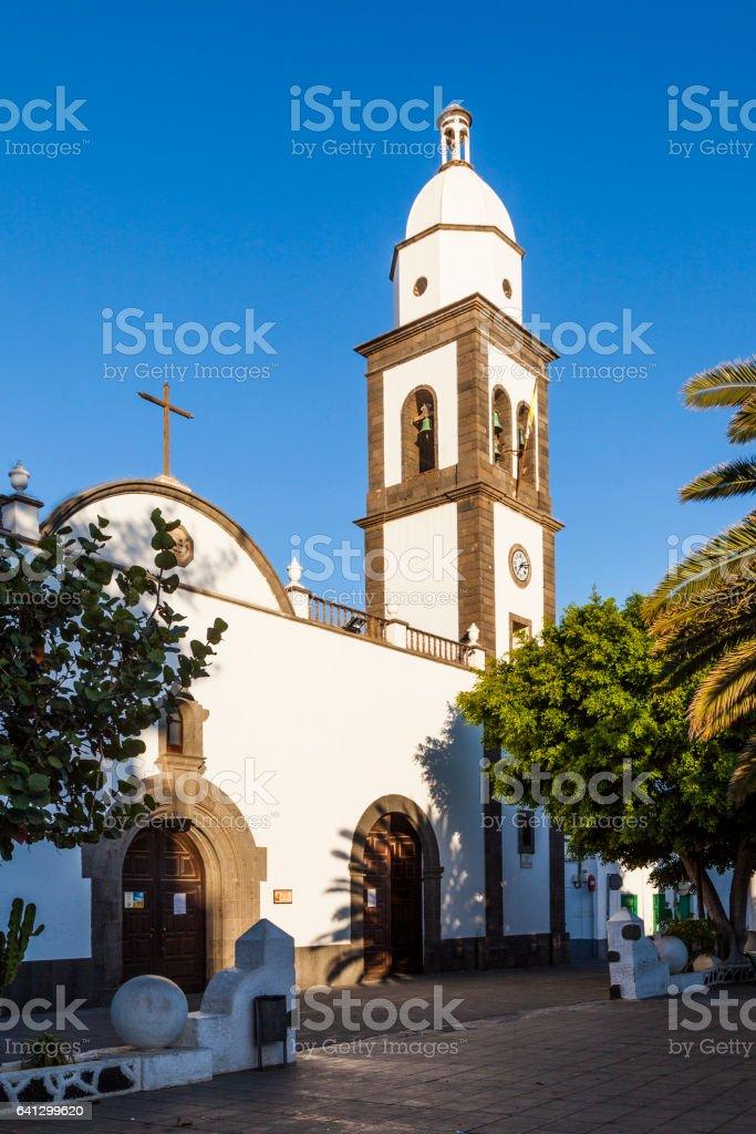 church San Gines Obispo in Arrecife stock photo