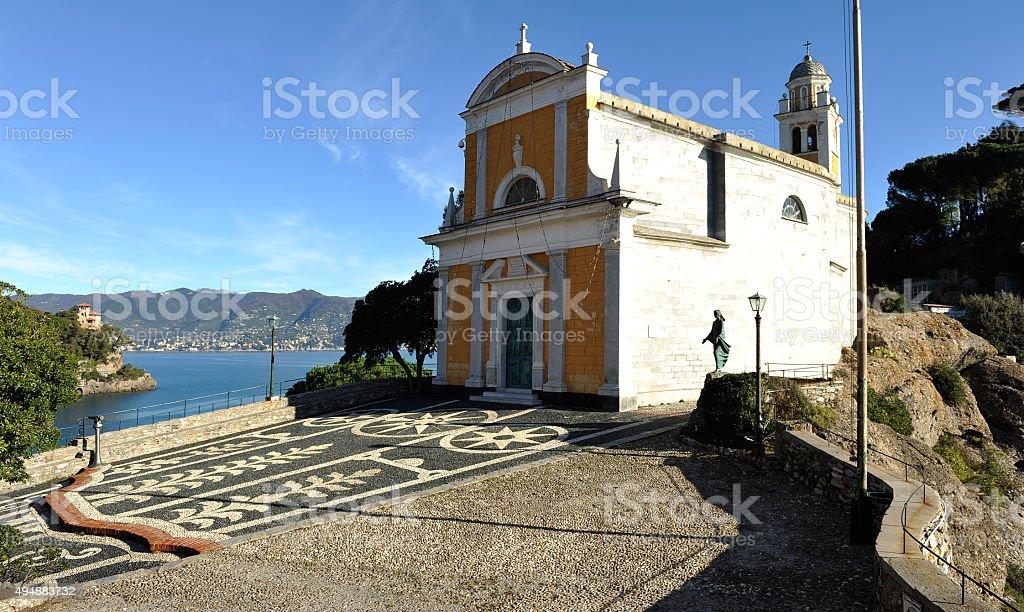 Church San Giorgio of Portofino stock photo