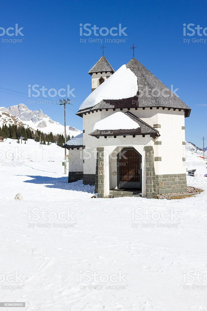 Church Passo San Pellegrino stock photo