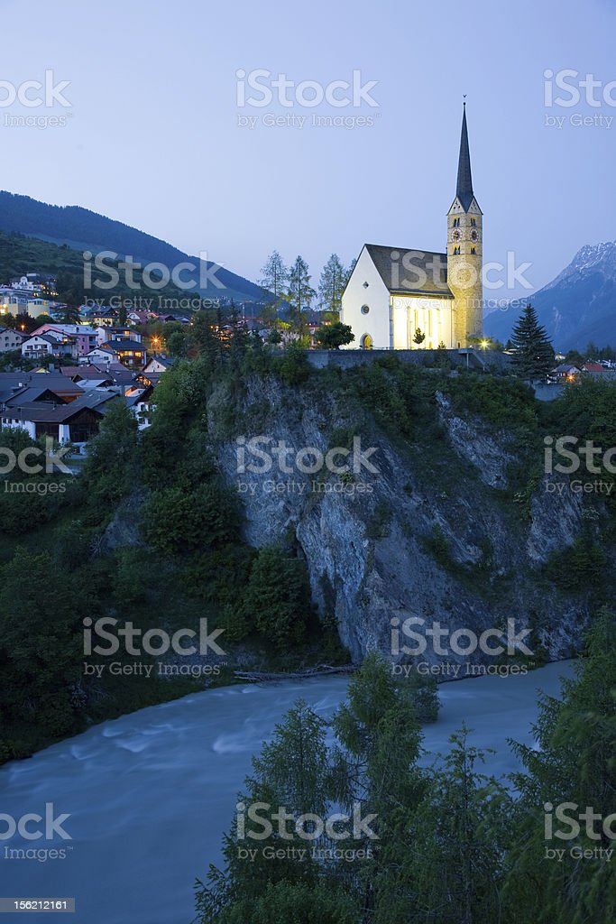 Church Scuol stock photo