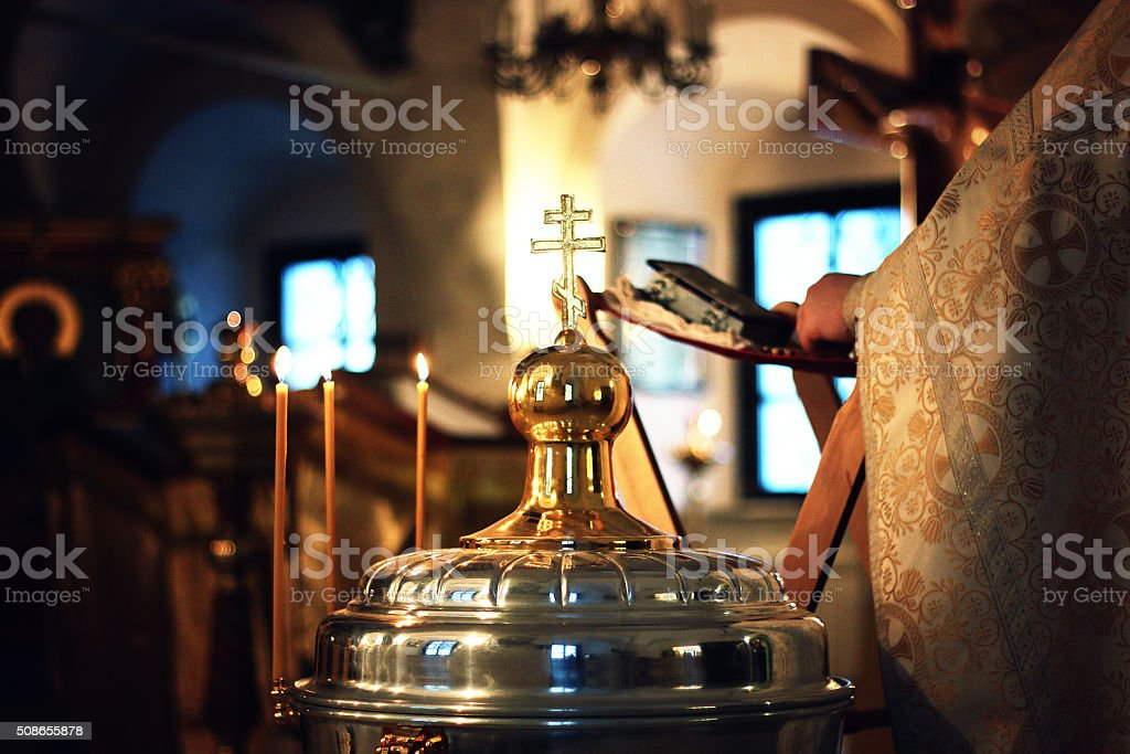 Church service crosses stock photo
