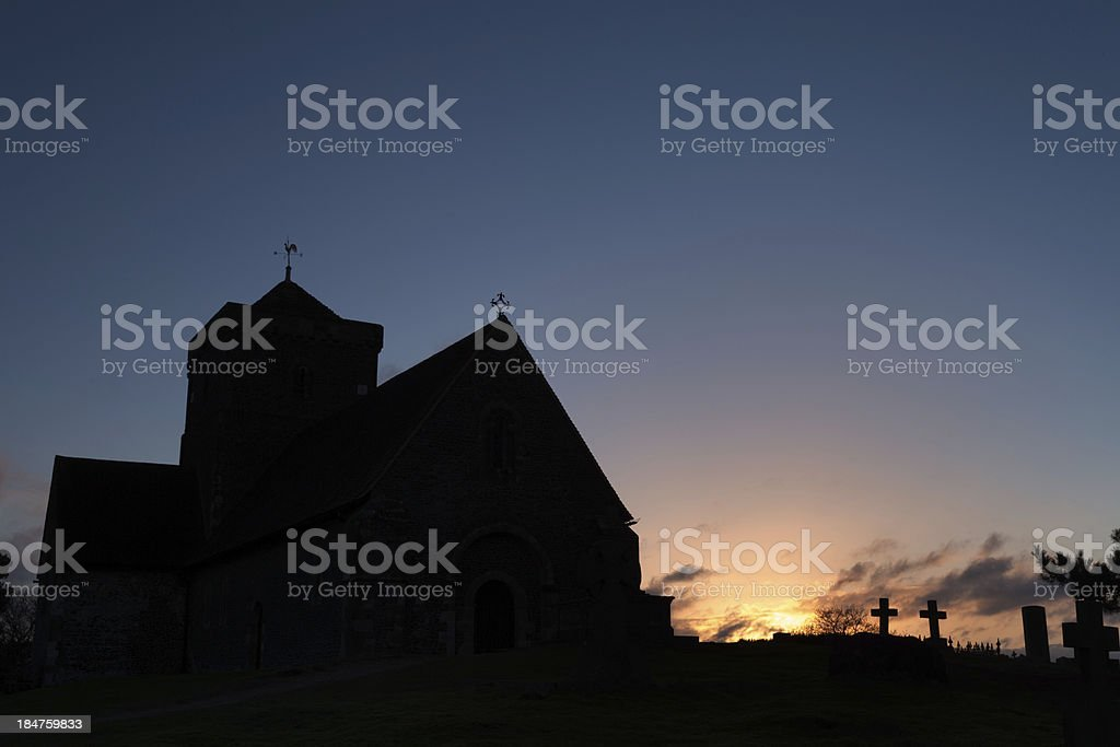 Church Silhouette at Dawn stock photo