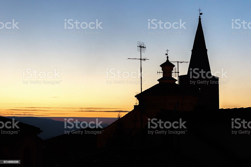Church silhouette on the sky stock photo