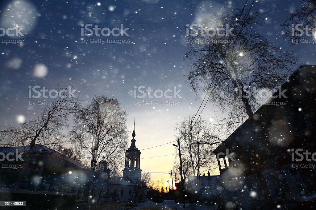 church snow winter stock photo