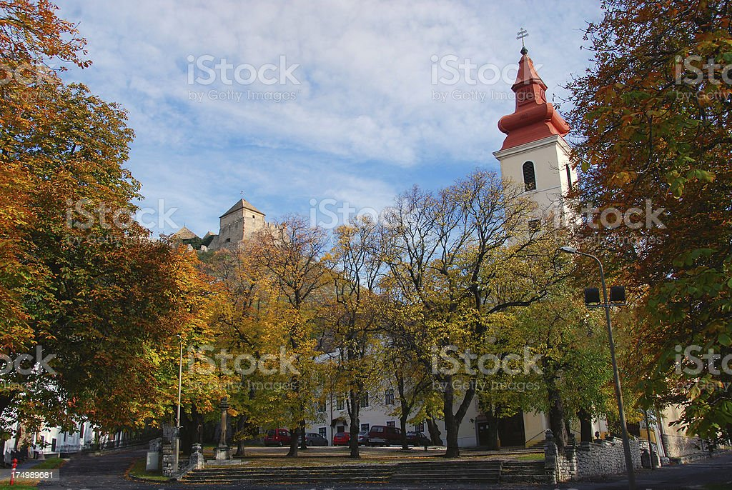 Church Spire and Castle - Sumeg, Hungary royalty-free stock photo