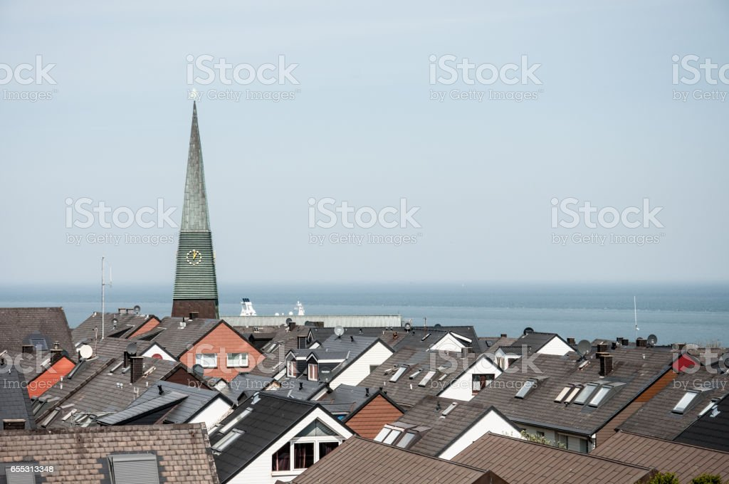 church spire and rooftops in Helgoland stock photo
