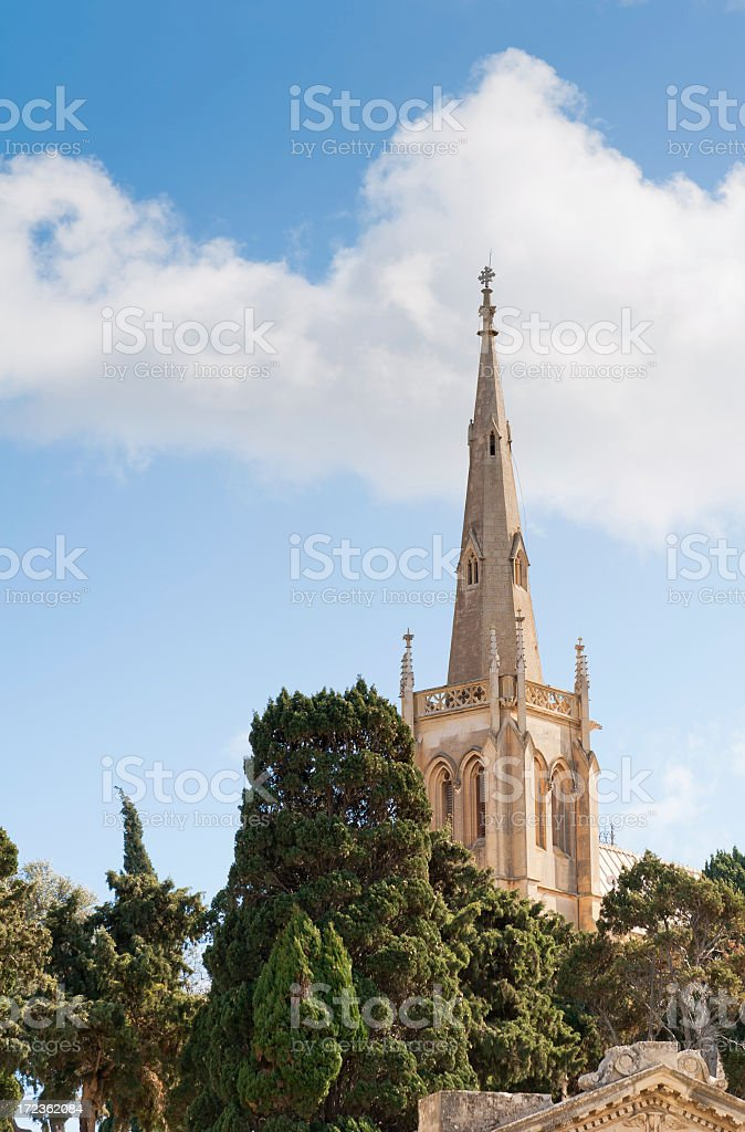 Church Spire in the Treetops stock photo