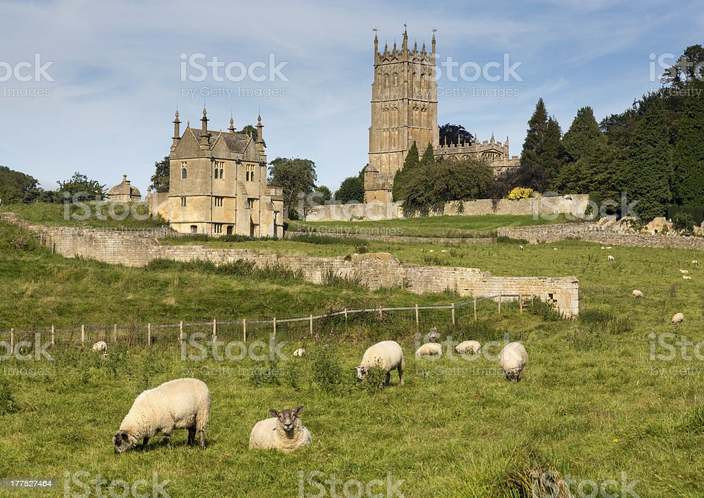 Church St James across meadow in Chipping Campden stock photo