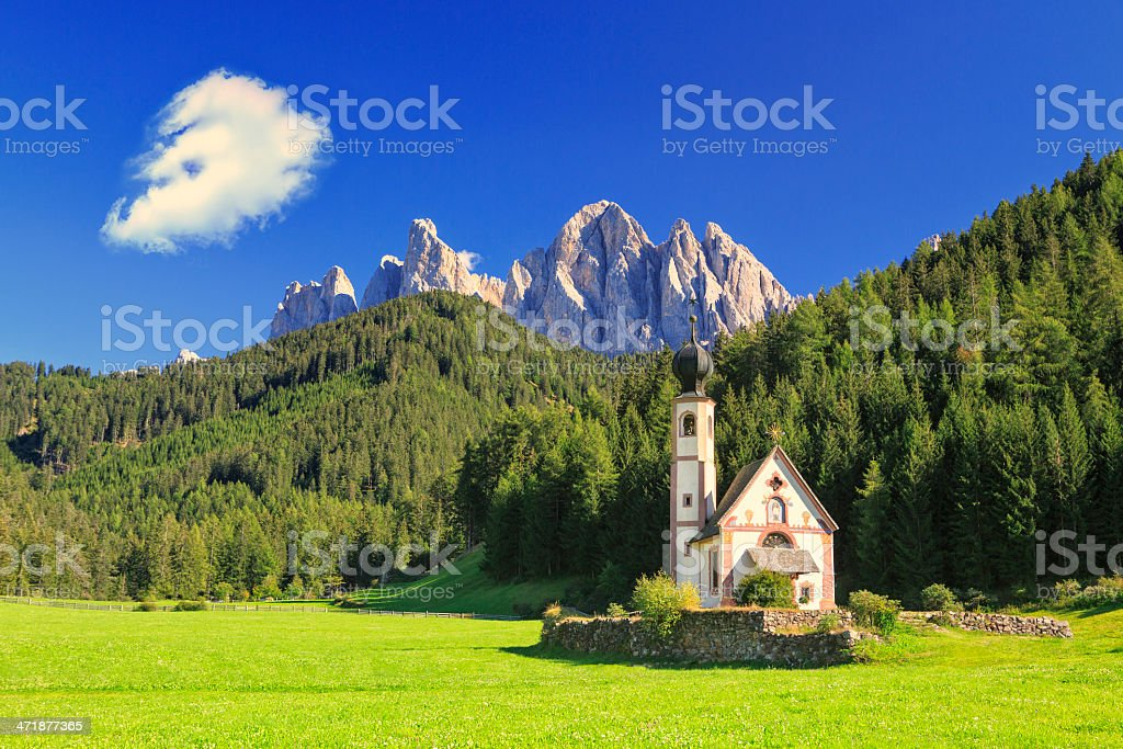 Church St. Johann in Ranui, Villnoess valley, South Tyrol, Italy stock photo
