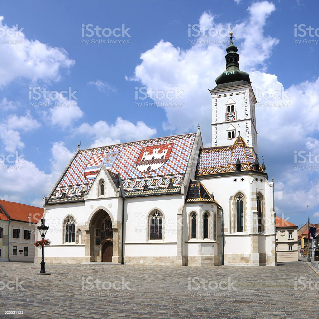 Church St Marks  Zagreb stock photo