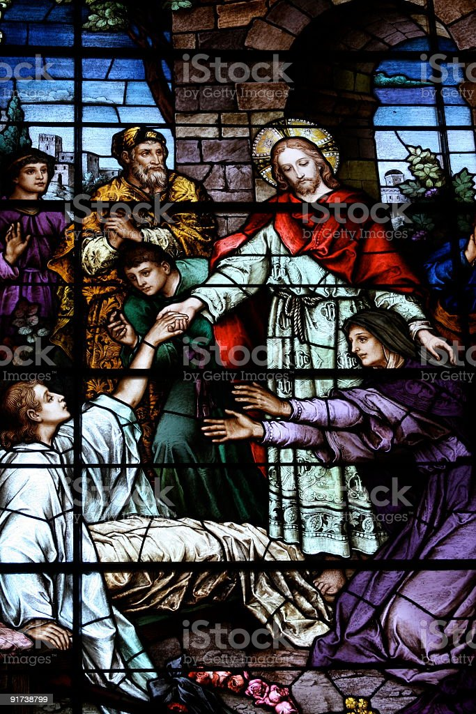 Church Stained Glass Leaded  Window stock photo