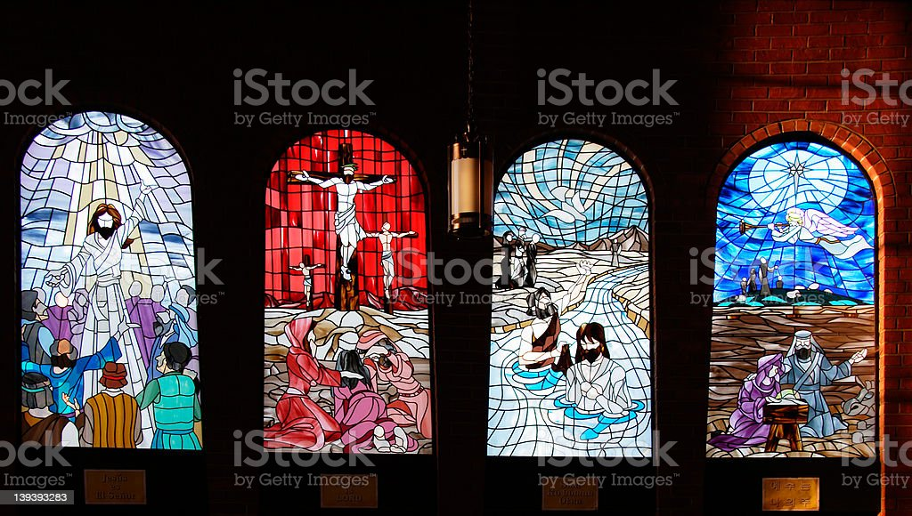 Church stained glass window royalty-free stock photo
