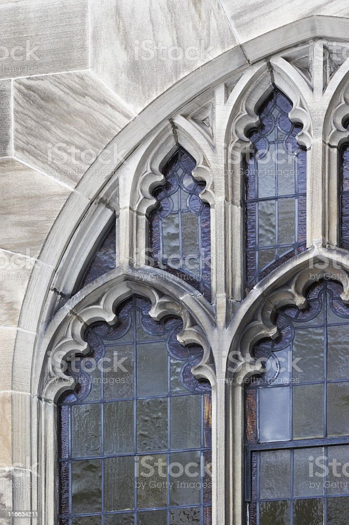 Church Stained Glass Window Stone Architecture stock photo
