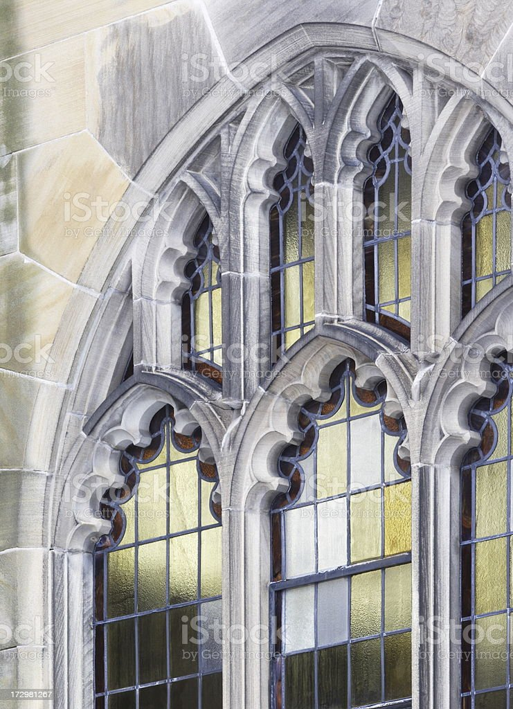 Church Stained Glass Window Stone Architecture royalty-free stock photo