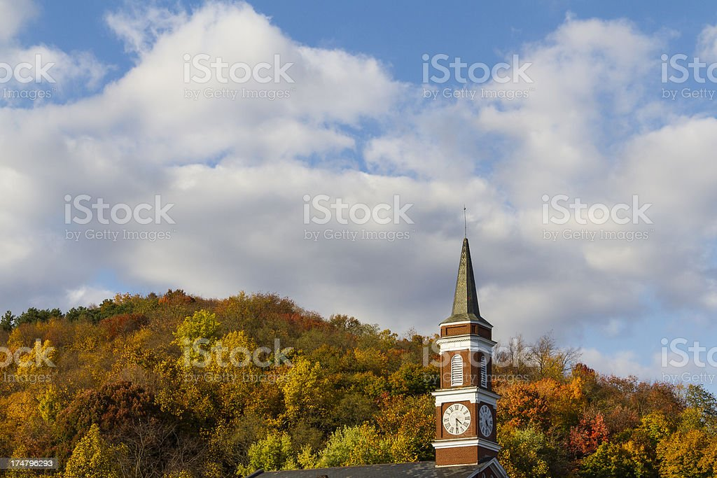 Church Steeple Against Autumn Colors stock photo