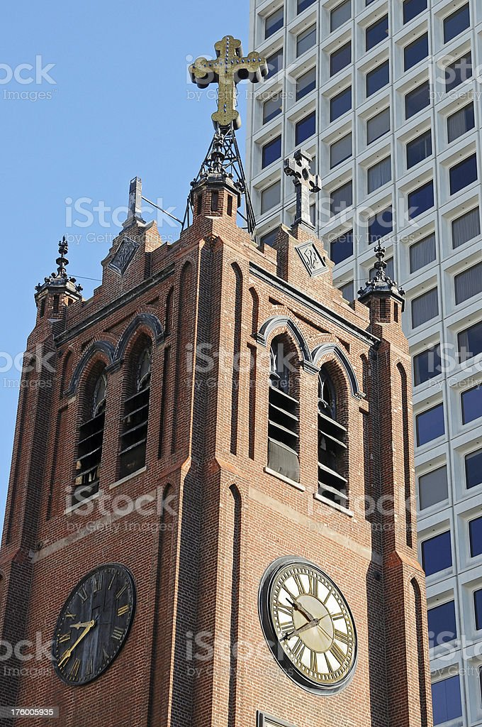 Church steeple and office building royalty-free stock photo