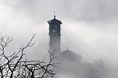 Church steeple and tree branches in fog