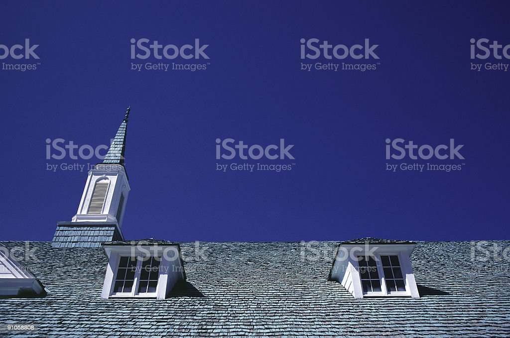 Church Steeple and Windows, Snowflake, Arizona stock photo