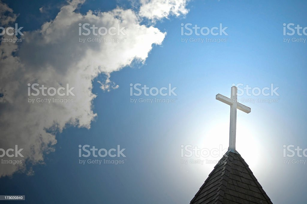 Church Steeple Backlighted by the Sun stock photo