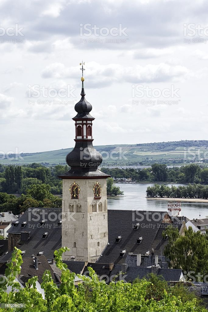 Church steeple by the river royalty-free stock photo