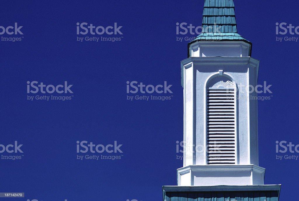 Church Steeple Detail, Snowflake, Arizona stock photo