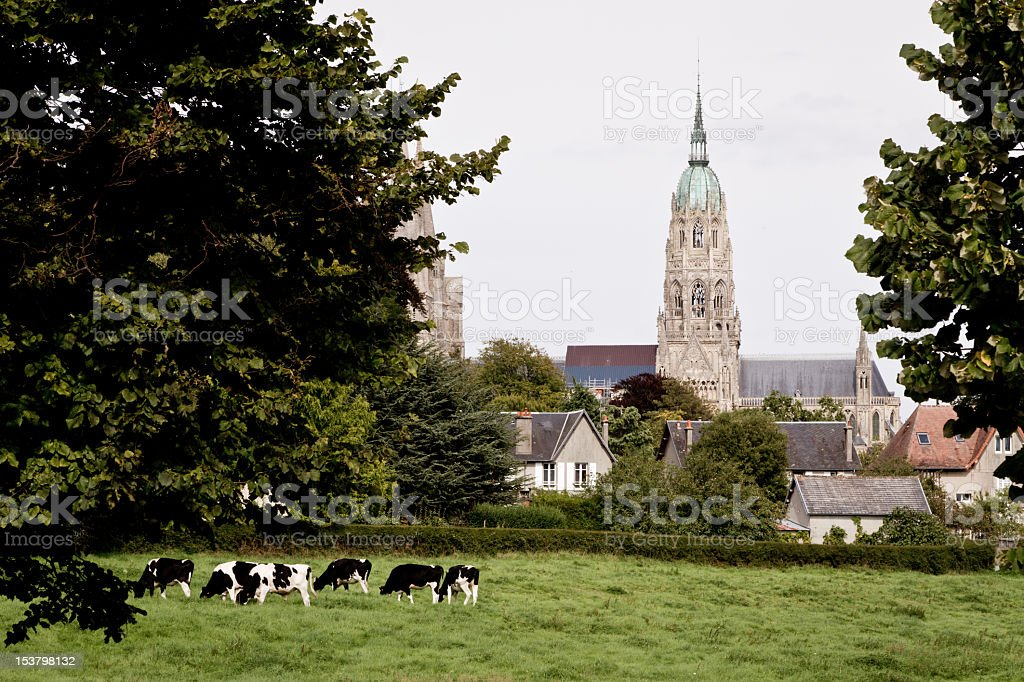 Church Steeple in Bayeaux, France stock photo