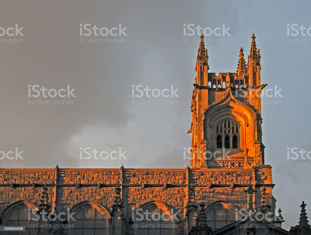 Church steeple in late afternoon sun stock photo