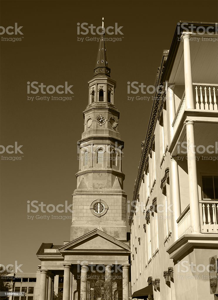 Church Steeple in Sepia royalty-free stock photo