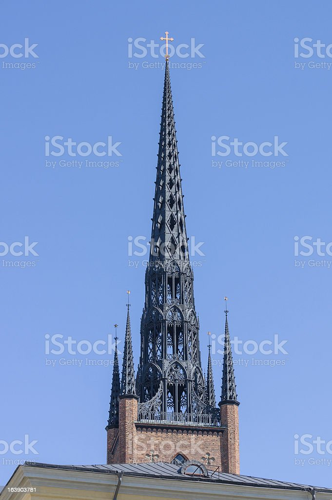 Church steeple in Stockholm royalty-free stock photo