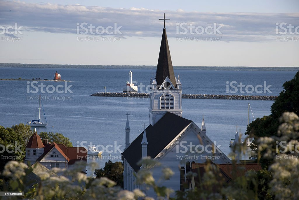 church steeple, mackniac island, michigan stock photo