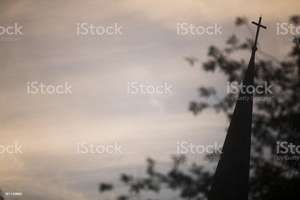 church steeple on sunrise sky royalty-free stock photo