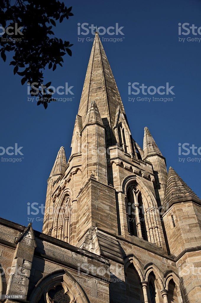 Church steeple - Sun setting royalty-free stock photo