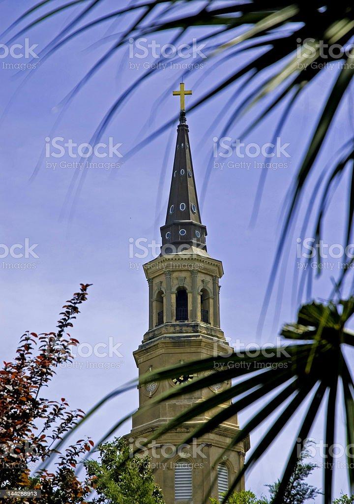 Church Steeple Through the Palms royalty-free stock photo