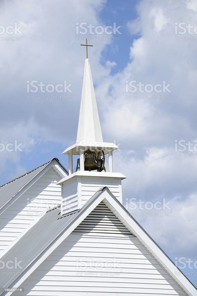 Church steeple with bell stock photo