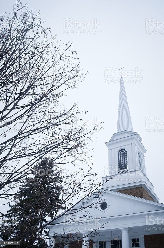 Church steeple with winter trees stock photo