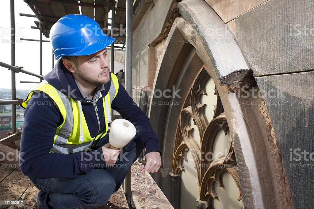 church stonemason stock photo