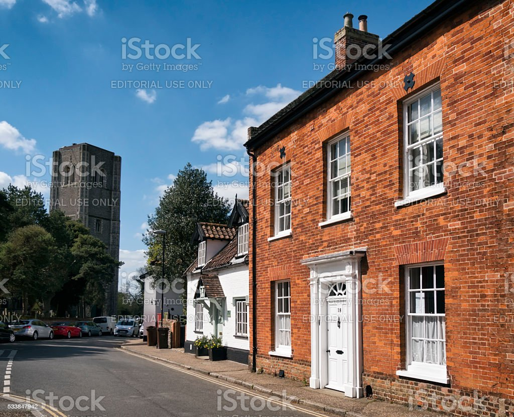 Church Street and Wymondham Abbey stock photo