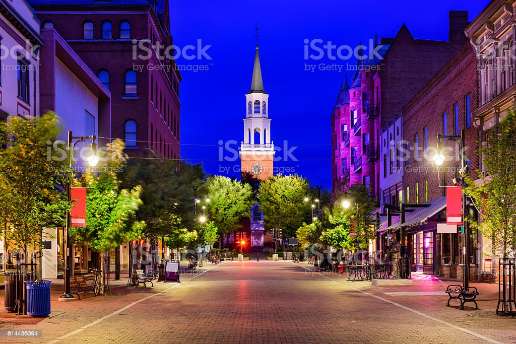 Church Street in Burlington, Vermont stock photo