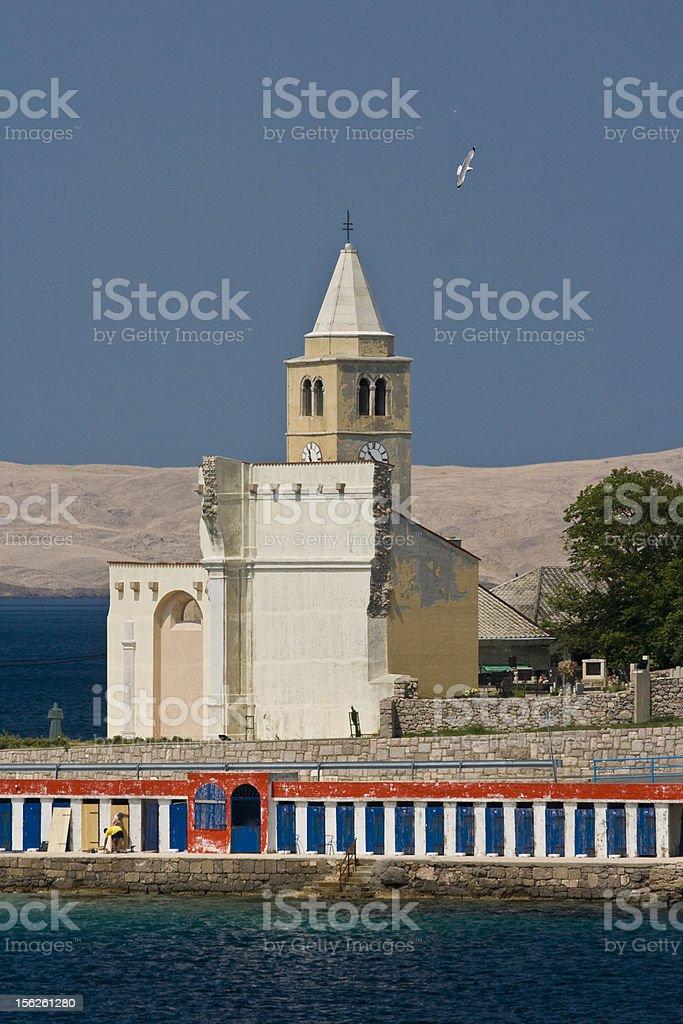 Church Sv.Karlo Boromejski and the old bathing restort stock photo