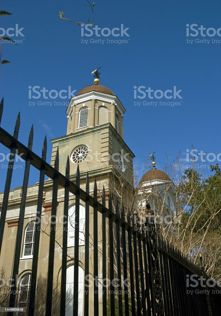 Church Tops and Fences royalty-free stock photo