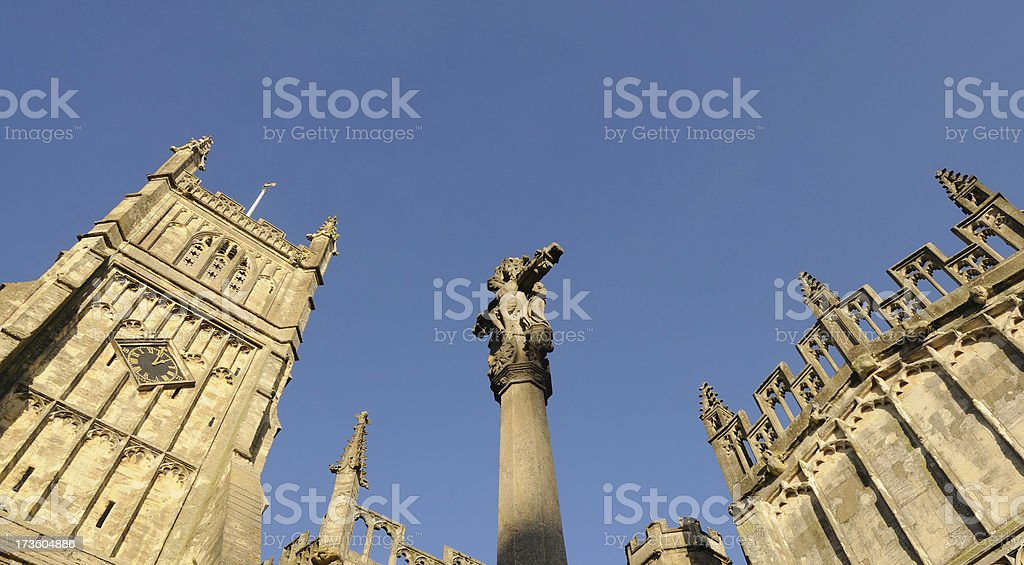 Church Tower and Cross, Cirencester stock photo