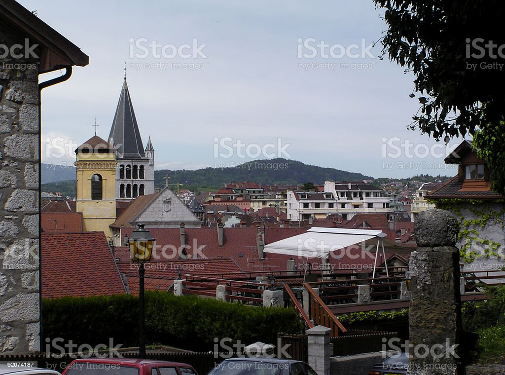 church tower and red roofs royalty-free stock photo